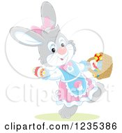 Clipart Of A Gray Female Easter Bunny With A Basket Of Eggs Royalty Free Vector Illustration