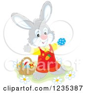 Clipart Of A Gray Male Easter Bunny Standing By A Basket Of Eggs Royalty Free Vector Illustration