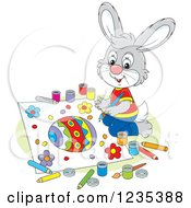Clipart Of A Gray Male Bunny Rabbit Painting A Picture Of An Easter Egg Royalty Free Vector Illustration