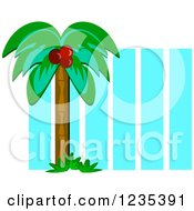Clipart Of A Coconut Palm Tree Over Blue Stripes Royalty Free Vector Illustration by bpearth