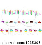 Clipart Of Borders Of Birthday Candles Hats And Cupcakes Royalty Free Vector Illustration by bpearth