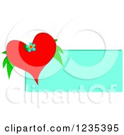Red Valentine Heart And Leaves Over A Blue Sign