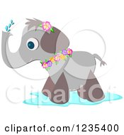 Clipart Of A Cute Elephant Wearing Flowers And Spraying Water Royalty Free Vector Illustration