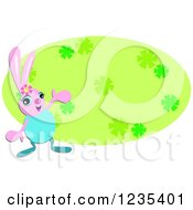 Clipart Of A Pink Easter Bunny Presenting A Green Floral Oval Royalty Free Vector Illustration by bpearth