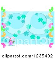 Clipart Of A Pink Easter Bunny And Jelly Beans Border A Floral Background Royalty Free Vector Illustration by bpearth