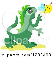Clipart Of A Cute Lizard Chasing A Bee Royalty Free Vector Illustration