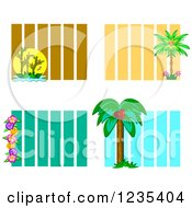 Backgrounds Of Bamboo Palm Trees And Hibiscus Flowers Over Stripes
