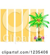 Coconut Palm Tree Over Orange Stripes