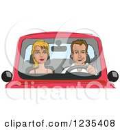 Clipart Of A Caucasian Man Driving A Lady In A Car Royalty Free Vector Illustration