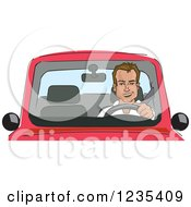 Clipart Of A Caucasian Man Driving A Car Royalty Free Vector Illustration