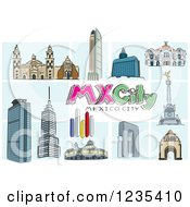 Clipart Of Buildings Of Mexico City With Text Royalty Free Vector Illustration by David Rey