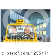 Clipart Of A Cab Driver And Passenger In A City Taxi At Night Royalty Free Vector Illustration