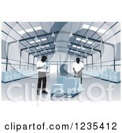 Clipart Of Warehouse Workers Checking An Order Royalty Free Vector Illustration