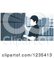 Clipart Of A Woodcut Inventory Warehouse Worker Royalty Free Vector Illustration