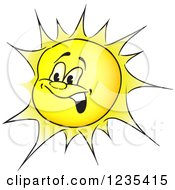 Clipart Of A Yellow Sun Character Royalty Free Vector Illustration