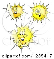 Clipart Of Yellow Sun Characters Royalty Free Vector Illustration by dero