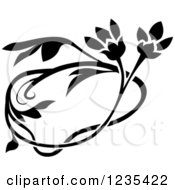 Clipart Of A Black And White Floral Design Element Royalty Free Vector Illustration