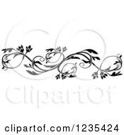 Clipart Of A Black And White Floral Design Element 4 Royalty Free Vector Illustration by dero