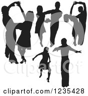 Clipart Of Black Silhouetted Latin Dance Couples 11 Royalty Free Vector Illustration