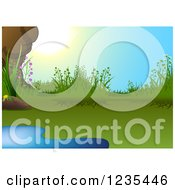 Clipart Of A Natural Pond And Sunshine Royalty Free Vector Illustration