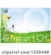 Clipart Of A Butterfly And Flower Spring Landscape Royalty Free Vector Illustration