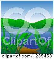 Clipart Of A Lake Or Pond Background Royalty Free Vector Illustration by dero
