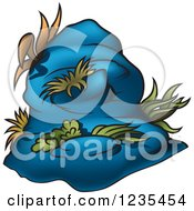 Clipart Of A Blue Rock And Aquatic Plants Royalty Free Vector Illustration