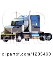Clipart Of A Blue Big Rig Western Star Truck Royalty Free Vector Illustration