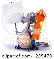 Clipart Of A 3d Purple Dragon With A Sign And A Rocket Royalty Free Illustration by Julos