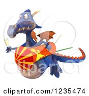 Clipart Of A 3d Purple Dragon With Champagne And A Rocket 3 Royalty Free Illustration by Julos
