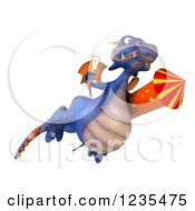 Clipart Of A 3d Purple Dragon With Champagne And A Rocket 4 Royalty Free Illustration by Julos