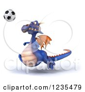 Clipart Of A 3d Purple Dragon Playing Soccer 3 Royalty Free Illustration