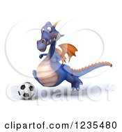 Clipart Of A 3d Purple Dragon Playing Soccer 4 Royalty Free Illustration