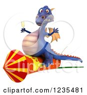 Clipart Of A 3d Purple Dragon With Champagne And A Rocket Royalty Free Illustration by Julos