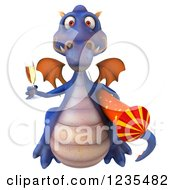 Clipart Of A 3d Purple Dragon With Champagne And A Rocket 2 Royalty Free Illustration by Julos