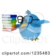 Clipart Of A 3d Bespectacled Chubby Blue Bird Flying With A Stack Of Books Royalty Free Illustration
