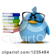 Clipart Of A 3d Bespectacled Chubby Blue Bird Holding A Stack Of Books 2 Royalty Free Illustration by Julos