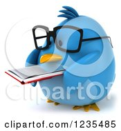Clipart Of A 3d Bespectacled Chubby Blue Bird Reading A Book 2 Royalty Free Illustration