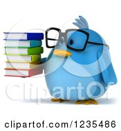 Clipart Of A 3d Bespectacled Chubby Blue Bird Holding A Stack Of Books Royalty Free Illustration
