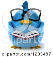 Clipart Of A 3d Bespectacled Chubby Blue Bird Reading A Book Royalty Free Illustration