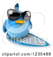 Clipart Of A 3d Chubby Surfing Blue Bird Wearing Sunglasses 2 Royalty Free Illustration