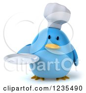 Clipart Of A 3d Chubby Chef Blue Bird Holding A Plate Royalty Free Illustration
