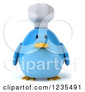 Clipart Of A 3d Chubby Chef Blue Bird Royalty Free Illustration by Julos