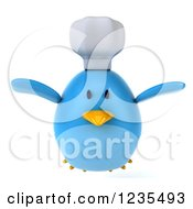 Clipart Of A 3d Chubby Chef Blue Bird Flying Royalty Free Illustration