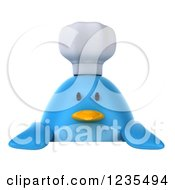 Clipart Of A 3d Chubby Chef Blue Bird Over A Sign Royalty Free Illustration