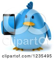 Clipart Of A 3d Chubby Blue Bird Holding A Smart Phone Royalty Free Illustration
