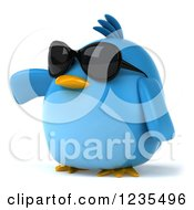 Clipart Of A 3d Chubby Blue Bird Wearing Sunglasses And Pointing Royalty Free Illustration