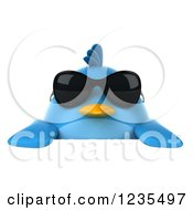 Clipart Of A 3d Chubby Blue Bird Wearing Sunglasses Over A Sign Royalty Free Illustration