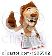 Clipart Of A 3d Lion Holding A Thumb Up And Reading A Book Royalty Free Illustration
