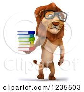 Clipart Of A 3d Bespectacled Lion Walking With A Stack Of Books Royalty Free Illustration